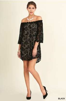 Umgee Black Off the Shoulder Floral Lace Dress