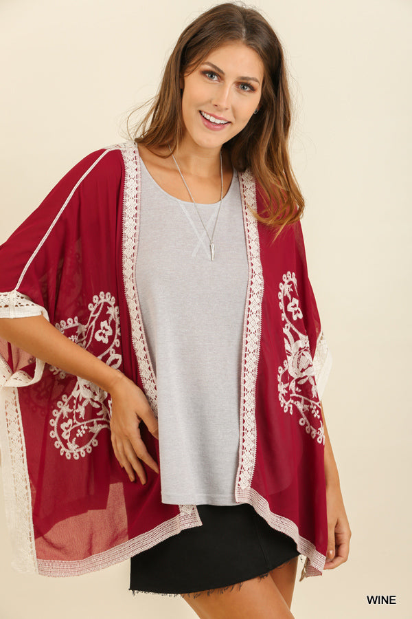 Wine Open Front Kimono with Embroidered Details