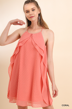 Load image into Gallery viewer, Coral Sheer Lined Polka Dot Dress