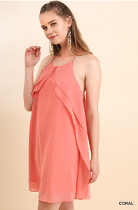 Coral Sheer Lined Polka Dot Dress