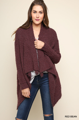 Red Bean Long Sleeve Open Front Cardigan With High Low Sharkbite Hem