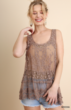 Load image into Gallery viewer, Sheer Lace Racerback Tank