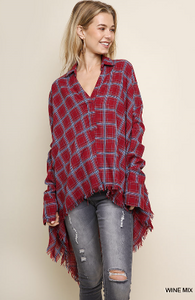 Wine Mix Plaid Long Sleeve Collared Hi Low Top with Asymmetrical Frayed Hem