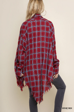 Load image into Gallery viewer, Wine Mix Plaid Long Sleeve Collared Hi Low Top with Asymmetrical Frayed Hem