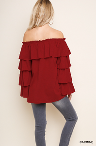 Floral Embroidered Ruffle Off Shoulder Top with Layered Tier Ruffle Sleeves