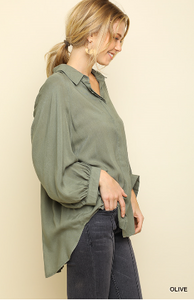 Olive 3/4 Sleeve Button Front Blouse with Scoop Hem and Gathered Back Detail
