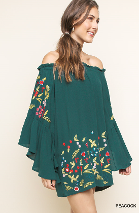 Peacock Off the Shoulder Bell Sleeve Dress With Floral Embroidery