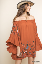 Load image into Gallery viewer, Terracotta Off the Shoulder Bell Sleeve Dress With Floral Embroidery