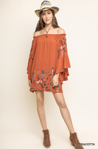 Terracotta Off the Shoulder Bell Sleeve Dress With Floral Embroidery