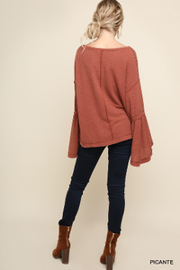 Garment Dyed Bell Sleeve Waffle Knit V-Neck Top