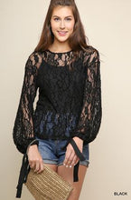 Load image into Gallery viewer, Umgee Black Sheer Floral Lace Top with Ribbon Tie Bell Sleeves