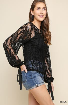Umgee Black Sheer Floral Lace Top with Ribbon Tie Bell Sleeves