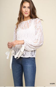 Umgee Ivory Sheer Floral Lace Top with Ribbon Tie Bell Sleeves