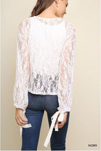 Load image into Gallery viewer, Umgee Ivory Sheer Floral Lace Top with Ribbon Tie Bell Sleeves