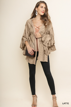 Load image into Gallery viewer, Lace Ruffle Sleeve Open Front Kimono With Side Slits