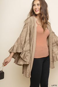 Lace Ruffle Sleeve Open Front Kimono With Side Slits