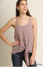 Load image into Gallery viewer, Umgee Dusty Rose Spaghetti Strap Racerback Tank with Center Tie Waist