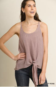 Umgee Dusty Rose Spaghetti Strap Racerback Tank with Center Tie Waist