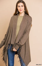 Load image into Gallery viewer, Walnut Cardigan Shawl Sweater With Fringe Hem