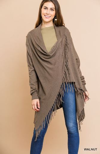 Walnut Cardigan Shawl Sweater With Fringe Hem