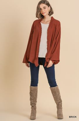Long Sleeve Open Front Kimono with Frayed Ruffle Hem