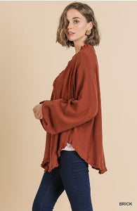 Long Sleeve Open Front Lightweight Jacket with Frayed Ruffle Hem