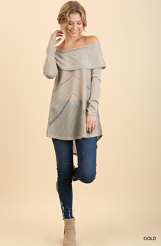 Gold Off the Shoulder Fold-Over Glitter Sweater with High Low Hem