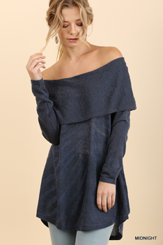 Midnight Off the Shoulder Fold-Over Glitter Sweater with High Low Hem
