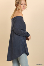 Load image into Gallery viewer, Midnight Off the Shoulder Fold-Over Glitter Sweater with High Low Hem