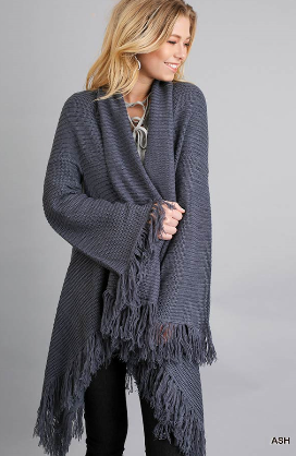 Umgee Cozy Ash Cardigan With Fringe