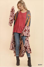 Load image into Gallery viewer, Ruffled Long Kimono With Multicolored Graphic Print