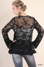 Load image into Gallery viewer, Sheer Lace Bell Sleeve V-Neck Babydoll Tunic