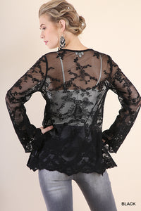 Sheer Lace Bell Sleeve V-Neck Babydoll Tunic