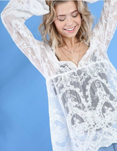 Load image into Gallery viewer, Sheer Lace Bell Sleeve Babydoll Top