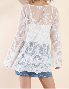 Sheer Lace Bell Sleeve Babydoll Top