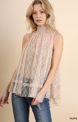 Sleeveless Sheer Lace Top With Smocked Mock Neck