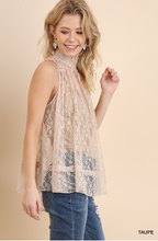 Load image into Gallery viewer, Sleeveless Sheer Lace Top With Smocked Mock Neck