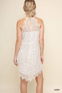 Halter Neck Ivory Lace Dress with Scalloped Trim