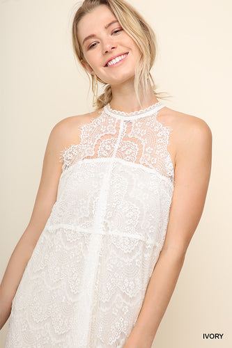 Halter Neck Ivory Lace Dress with Scallooped Trim