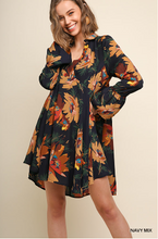Load image into Gallery viewer, Floral Print Collared Dress with Ruffled Long Sleeves