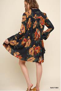Floral Print Collared Dress with Ruffled Long Sleeves