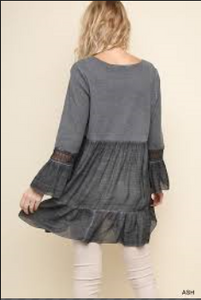 Washed/Ribbed V-Neck Babydoll Tunic with Ruffled Hem and Crochet Trimmed Bell Sleeves
