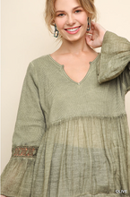 Load image into Gallery viewer, Washed/Ribbed V-Neck Babydoll Tunic with Ruffled Hem and Crochet Trimmed Bell Sleeves