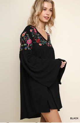 Floral Embroidered V-Neck Long Bell Sleeve Dress