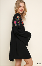 Load image into Gallery viewer, Floral Embroidered V-Neck Long Bell Sleeve Dress