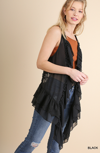 Ruffle and Lace Vest