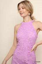 Load image into Gallery viewer, Umgee Lavender Lined Floral Crochet Halter Dress