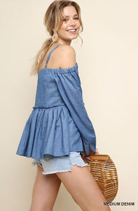 Umgee Denim Open Shoulder Long Sleeve Top with Ruffle Trim