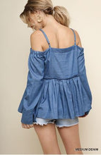 Load image into Gallery viewer, Umgee Denim Open Shoulder Long Sleeve Top with Ruffle Trim