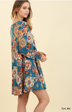 Load image into Gallery viewer, Long Sleeve Teal Mix Floral Print Dress